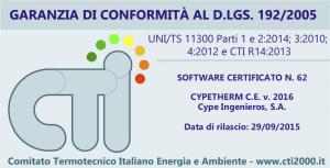 CYPETHERM C.E. Etichetta di garanzia di conformità al D.LGS. 192/2005